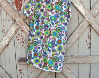 trippy - vintage 1970s mini dress M L XL