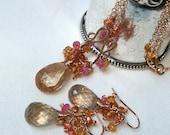 Rose Gold Necklace Earrings Set, Rutilated Quartz Jewelry Set Wire Wrap Gems Mandarin Garnet Madiera Citrine Pink Gem Cluster