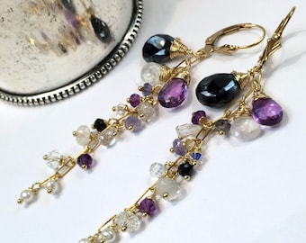 Black Dangle Earrings Wire Wrap Gold Fill Moonstone Amethyst Chain Dangle Minimalist Jewelry February Birthstone Boho Chic Gemstone Dangle