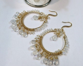 Moonstone Hoop Earrings Gold Hoop Earring White Gemstone Hoop Gemstone Chandelier Boho Chandelier Beach Wedding Doolittlejewelry Beaded Hoop