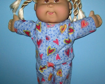 Cabbage Patch Kids, Doll Clothes. Heart Pajama. Set  15 16 Inch Doll Clothes,  Vintage Classic CPK Doll Clothes