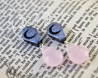 Pale Moon, Coffin Earrings with Pink Drops