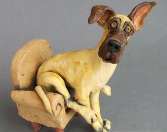 Great Dane in Chair Whimsical Ceramic Dog Sculpture