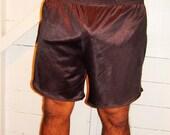 Vintage Mens Black Nylon Running Shorts XL
