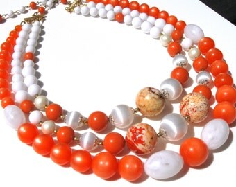White and Orange vintage 1950 Japan beads with semi precious stones handmade necklace