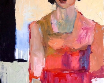 Red and Pink, Female Portrait, Art Print, Wall Art, Decorative Art, Portrait Art, 8 x 10, Free Shipping, Red and Black, Abstract Figure