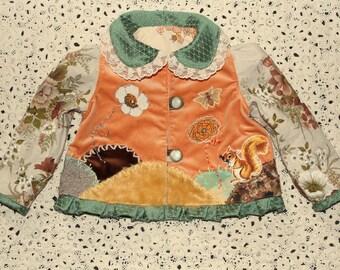 reversible velvet jacket with little squirrel