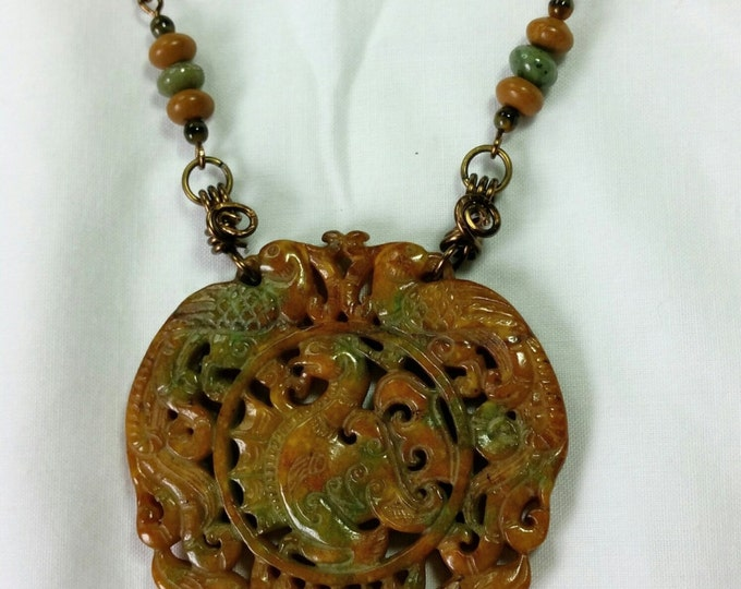 Serpentine Dragon Pendant with Wire Wrapped Handmade Chain of Antique Brass with Glass and Stone Beads