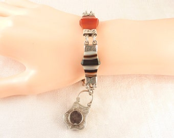 Incredible Antique Victorian Carved Scottish Banded Agate and Engraved Sterling Bracelet with Padlock Hair Locket