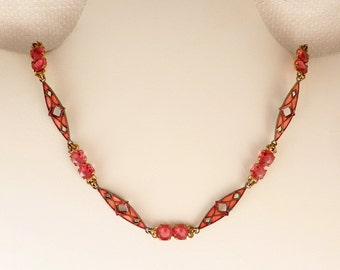 Antique Art Deco Pink Enamel and Crystal Brass Necklace