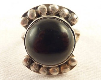 Adjustable Size 7 Antique Mexican Sterling Studded Onyx Ring