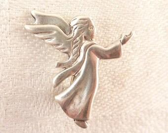 Vintage Sterling Elegant Guardian Angel Brooch
