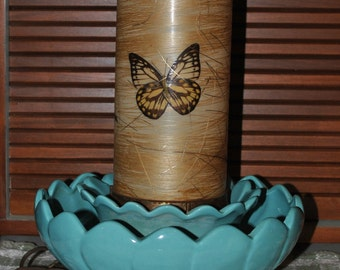Vintage Mid Century Fiberglass Table Lamp with Planter Ring