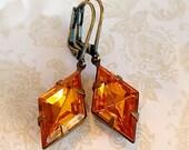 art deco earrings - Golden Topaz Rhinestone Earrings - Art Deco Jewelry - HARLEQUIN Golden Topaz