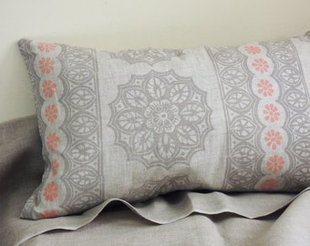 Lace and Daisy Hand Block Printed natural undyed linen gray pink boho decorative pillow cover home decor