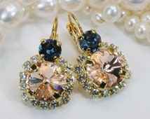Peach Gold Earrings Swarovski Crystal Navy Blue Pale peach Drop Earrings Peach Clear Denim Blue Drop Halo Earrings,Gold,Light peach,GE102