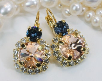 Peach Navy Blue Gold Earrings Swarovski Crystal Pale peach Drop Earrings Peach Clear Denim Blue Drop Halo Earrings,Gold,Light peach,GE102