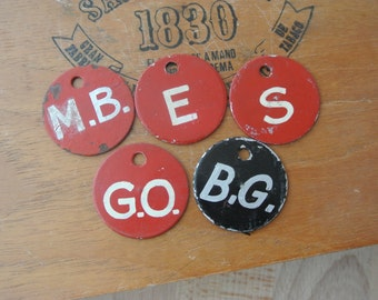 5 pcs Vintage Metal Tags with Hand Painted Letters Chippy Paint LOT Red Black