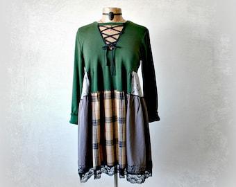 Shabby Boho Dress Altered Clothing Lace Up Neckline Long Sleeves Slouchy Fit Green Mori Girl Dress Bohemian Chic Fall Fashion L XL 'AURORA'