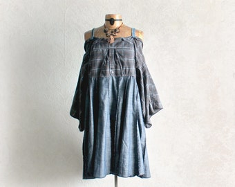 Off Shoulder Upcycled Dress Grey Plaid Blue Denim Country Clothing Loose Fitting Boho Chic Dress Shabby Clothes Rustic Fashion L 'MARGOT'
