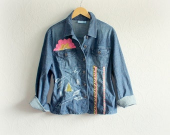 Woodland Tribal Women's Jean Jacket Upcycled Clothing Forest Deer Fitted Denim Jacket Eco Conscious Boho Clothes Bohemian Shirt L XL 'ANDIE'