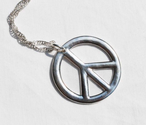 Large Sterling Silver Peace Sign Necklace