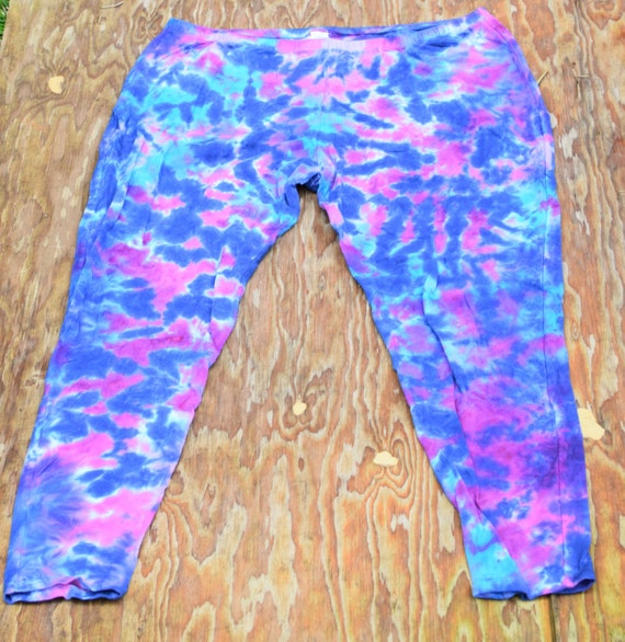 Pink Blue Purple Scrunch Leggings (Dharma Trading Co. Deluxe Cotton Leggings with Spandex Size 3XL) (One of a Kind)