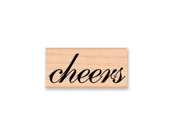cheers~Rubber Stamp~Choice of two different font styles~Wedding Favor Stamp~Wedding toast~Congratulations~wood mounted (37-14T)(37-21S)