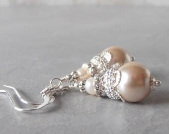 Bridesmaid Jewelry Beige Pearl Earrings Bead Dangles Silver Filigree Sterling Silver Ear Wires Beige and Ivory Bridesmaid Earings, Handmade