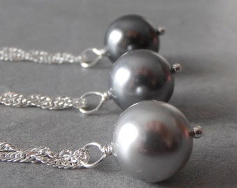 Simple Gray Pearl Necklace on Sterling Silver Chain Minimalist Wedding Jewelry Swarovski Pearl Pendant Bridesmaid Gift Dark Gray Light Gray