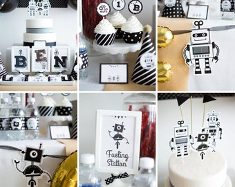 Robot Party Decorations, Robot Birthday Party Decor, Robot Party, Robot Theme Party Kit, Black and White Robot Party