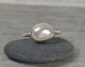pearl engagement ring, stackable pearl ring, bridal ring, large freshwater pearl stacking ring, June pearl ring, wedding gift