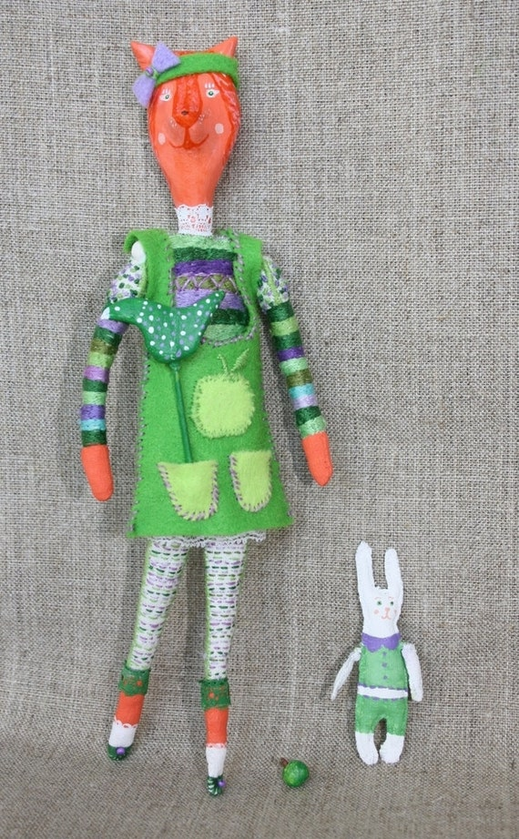 Hand Embroidered Doll Fox Girl Gerda with rabbit Tim. Antropomorphic Fox Doll. Hand stitched doll cloth and assessories
