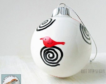 Hand Painted Christmas Ornament Modern Red Bird with Spirals One of a Kind Painting on Ceramic Ball Contemporary Art Gift Under 40