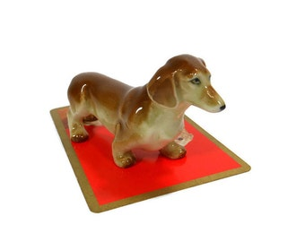 Vintage Miniature Dog | Miniature Dachshund | Brown Dog Figurine | Mid Century | Home Decor | Collectible Animal | Made In Japan | Doxie Pup