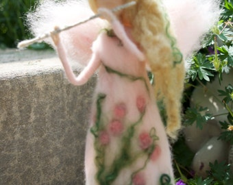 Woodland Flower Fairy Playing Flute, Spring