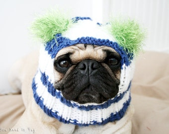 READY to SHIP - Snuggly Dog Hat in Blue, White, & Lime - The Original Pug Hat -Dog Clothing - Pet Accessories - Pet Hat