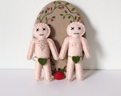 Valentines day gift for Couples - Adam and Eve mini dolls - mojo revival - love spells - based on Hibou's Voodoo Doll - hand sewn - OOAK