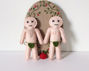 Adam and Eve mini dolls- Gift for Couples - novelty and gag gift - mojo - love spells - based on Hibou's Voodoo Doll - hand sewn - OOAK