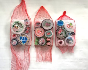 Plastishimi Red Netted Triptych, Upcycled Plastic and Foam Sushi Sculpture