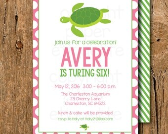 Turtle Party Birthday Invitation - Pink Preppy Turtle Baby Shower Invite-Sea Creature Invite, Turtle Pool Party, Swim Party, Aquarium Invite
