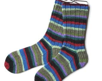 Cashmere Socks Handknit, Merino Socks for Women, Girls, Handknit Socks, DK weight, striped socks, cranberry green lilac socks, knitted socks
