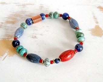 Multi Color Bracelet, Stretch Bracelet, Turquoise and Coral, Copper Wire Jewelry, Ethnic Bracelet, Tribal Jewellery, Boho Bracelet