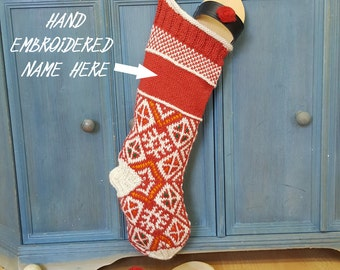 Personalized Knitted Christmas Stockings Red White, Fair Trade Knit Christmas Stockings, Handmade Christmas Stockings, knit xmas Stockings