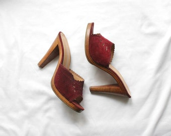 1970s Oxblood Cut Out Suede Mules | Vintage 70s 9West Sky High Heel Sandals | Size 6 1/2 7 US