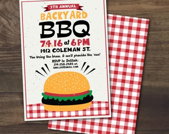 PRINTABLE Summer Backyard BBQ Party Fourth of July Cookout or Picnic invitation