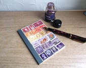 Dot Grid Pocket Notebook 2 - A6 Traveler's Journal, Postage Stamp Collage, Orange Purple Sunset Landscape, Hippie Snail Mail Art Penpal Gift