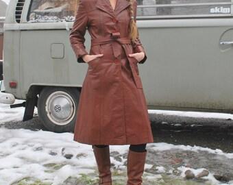Vintage 70's Long Leather Coat Boho