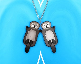 SALE Regularly 19.95 - Pair of Sea Otters Necklace - Valentine's Gift - Otter Couple - Holding Hands