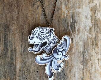 Ornamental Pitbull in Black and Grey Filigree Necklace